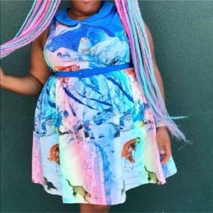 ModCloth whimsical skiing snow cat dress size 2x